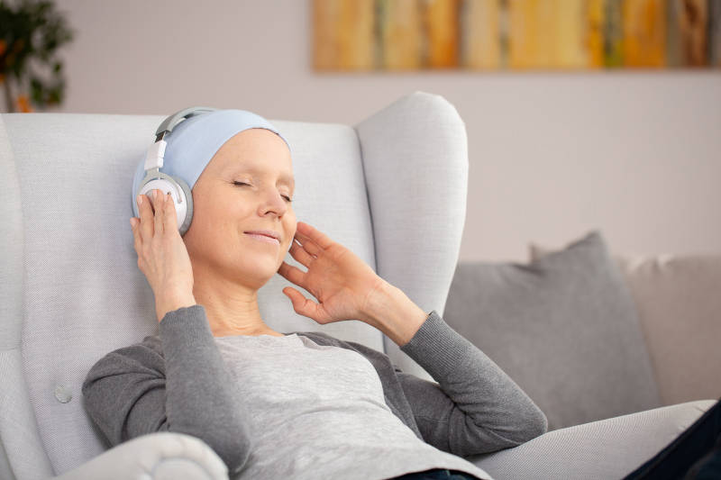 oncology patient with headphones