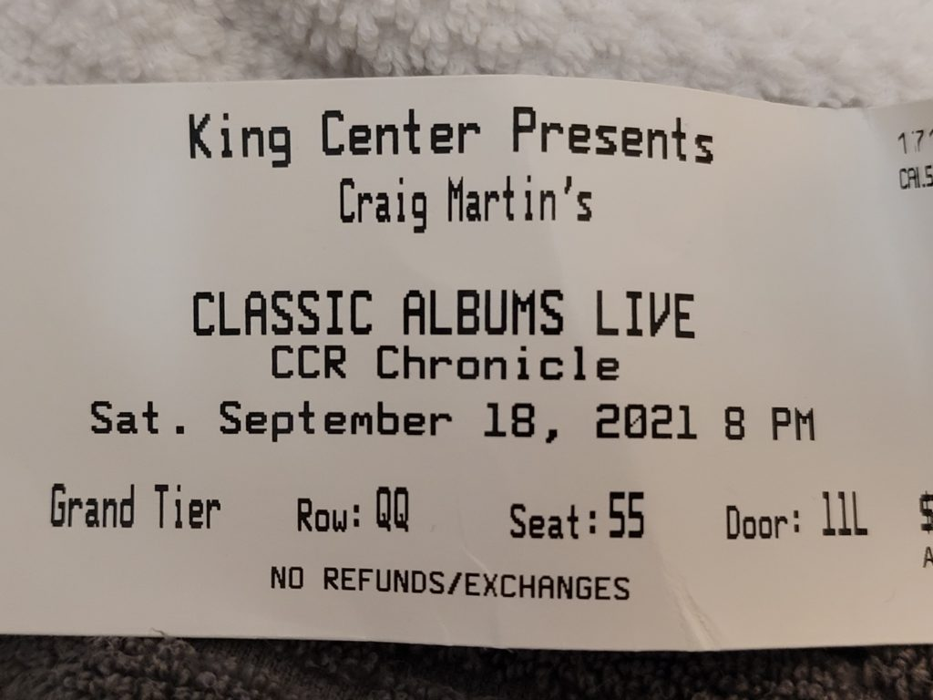 Ticket for live music at the King Center